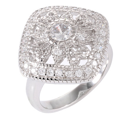 DIAMONIQUE® VINTAGE = 0,82ct Cocktail-Ring Silber rhodiniert