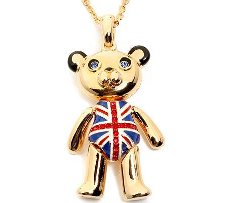 LONDON COLLECTION Anhänger Union Jack Teddy Kette ca.59-65cm vergoldet