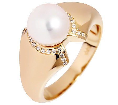 AKOYA Zuchtperle 8-8,5mm 30 Brillanten 0,10ct. Cocktail-Ring Gold 585
