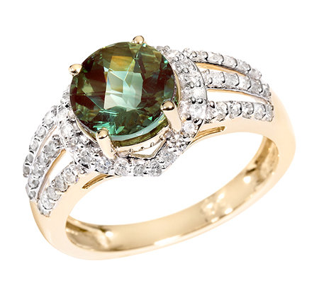 Tibetanit 1,92ct. hellgrüner Andesin Diamanten 0,43ct. Entourage-Ring Gold 375
