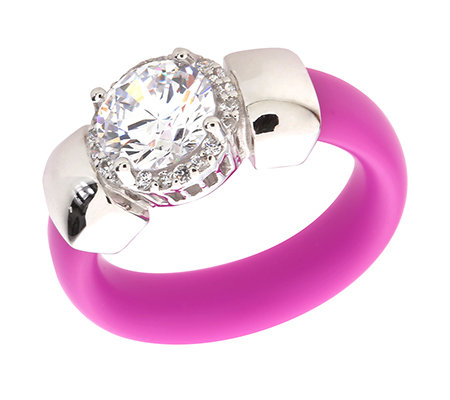 DIAMONIQUE® = 2,20ct Brillantschliff Entourage-Ring Silber rhodiniert