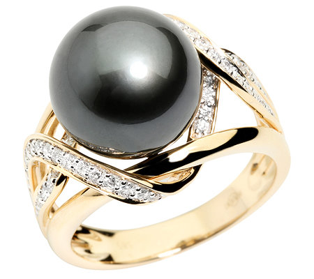PERLFEKT Tahitiperle 12-12,9mm 52 Brillanten 0,35ct. Cocktail-Ring Gold 585