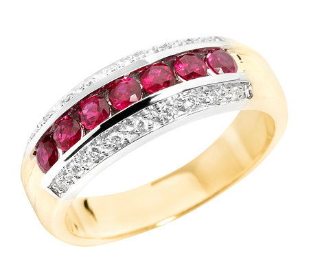 Burma Rubin Rundschliff 0,65ct. 18Brillanten 0,11ct. Memoire-Ring Gold 585