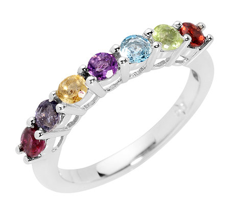 Multicolor facettiert 0,58ct. Riviere-Ring Silber 925