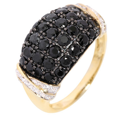 Schwarzer Spinell Diamanten 0,08ct. Cocktail-Ring Gold 333