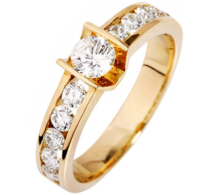 11 Brillanten zus.ca.0,80ct hf.Weiß/lupenrein Ring Gold 750