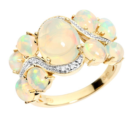 Afrikanischer Opal 3,00ct 10 Brill.0,03ct Cocktail-Ring Gold 585