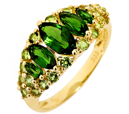 Russischer Chromdiopsid 1,20ct. Peridot 0,80ct. Rauten-Ring Gold 333