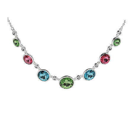 LONDON COLLECTION Collier in Frühlingsfarben Länge ca.44+5cm versilbert