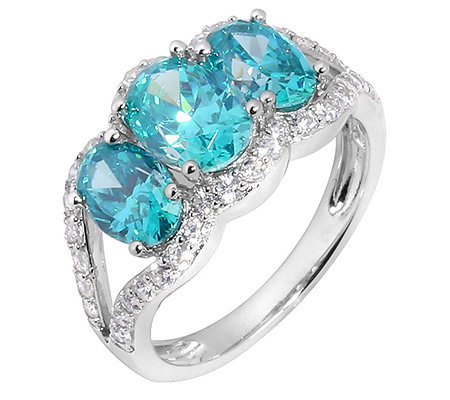 DIAMONIQUE® CARIBBEAN BLUE = 3,38ct Cocktail-Ring Silber rhodiniert
