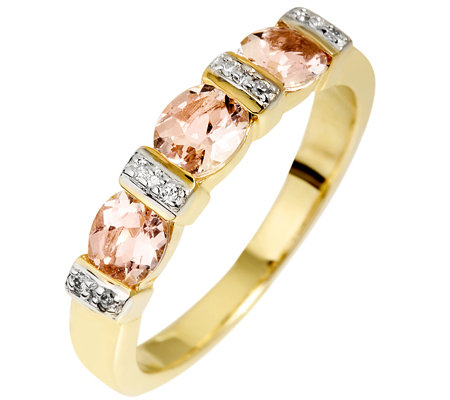 Morganit 0,75ct. Ovalschliff 8 Brillanten 0,03ct. Ring Gold 585