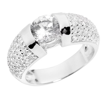 DIAMONIQUE 65 Steine =2,14ct. Cocktail-Ring Pavé Silber 925,rhodiniert