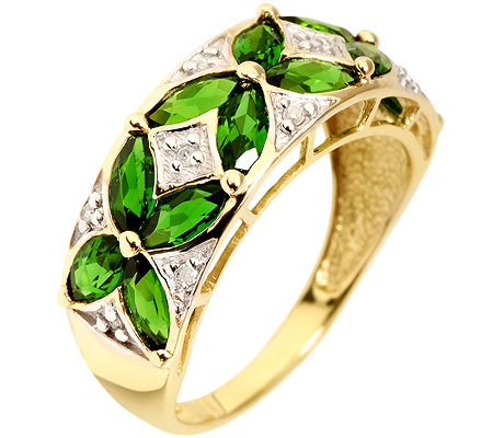 Russischer Chromdiopsid 1,44ct. 10 Diamanten 0,04ct. Blüten-Ring Gold 333