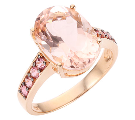 Morganit AAA/5,10ct 8 Saphire 0,40ct Ring Roségold 585