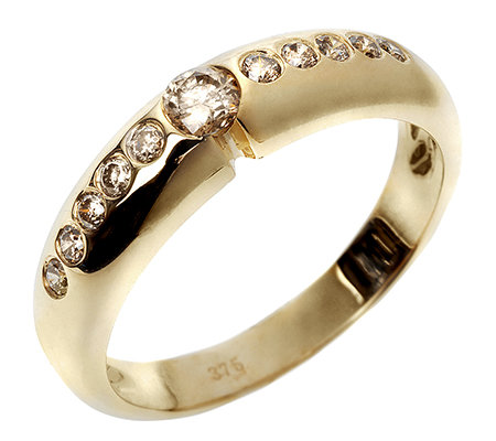 11 Brillanten zus.ca.0,30ct natur braun/P1 Ring Gold 375