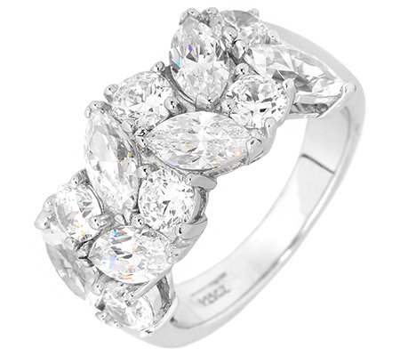 DIAMONIQUE® = 3,30ct Schliffmix Ring Silber rhodiniert