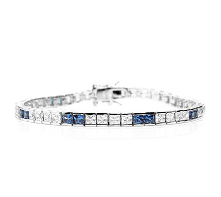 DIAMONIQUE® ROYAL BLUE = 8,48ct Armband Silber rhodiniert