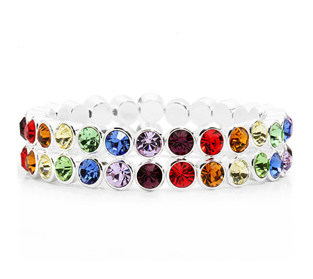 LONDON COLLECTION Armband multicolor flexibel Kristalle