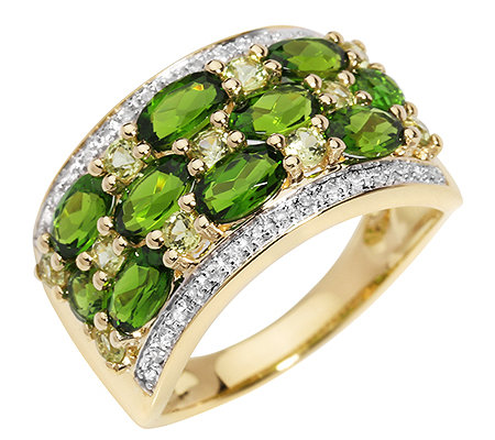 Russischer Chromdiopsid 1,85ct. 11 Peridote 0,30ct. Ring Gold 375