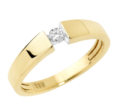 FIRST DIAMOND 1 Brillant ca.0,09ct. Solitär-Ring Gold 333