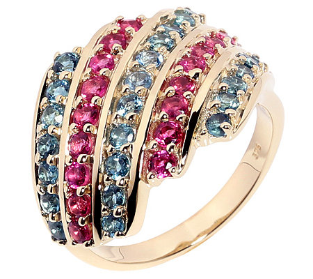 Blauer Turmalin Rubelith facettiert 1,58ct. Cocktail-Ring Gold 375