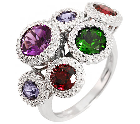 Multicolor Schliffmix 3,79ct Cocktail-Ring Silber rhodiniert