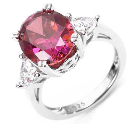 DIAMONIQUE® WILD BERRY 3 Steine = 5,72ct. Trilogie-Ring Silber 925,rhodiniert