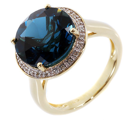 ITINGA Topas Londonblue 6,25ct 24 Dia. 0,09ct Entourage-Ring Gold 375