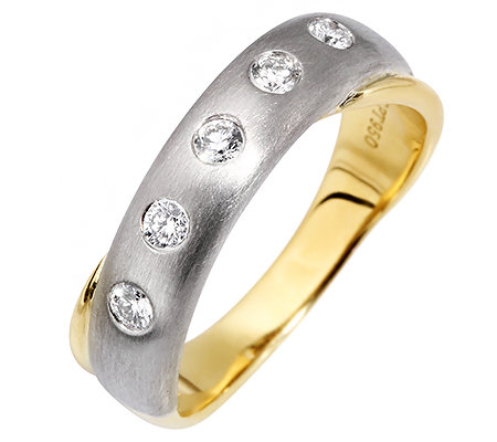 5 Brillanten zus. ca. 0,20ct Weiß/SI Ring Platin950/Gold750