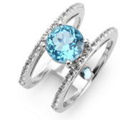 ITINGA Topas Swissblue 2,03ct Cocktailring Weißtopas 0,32ct Silber 925