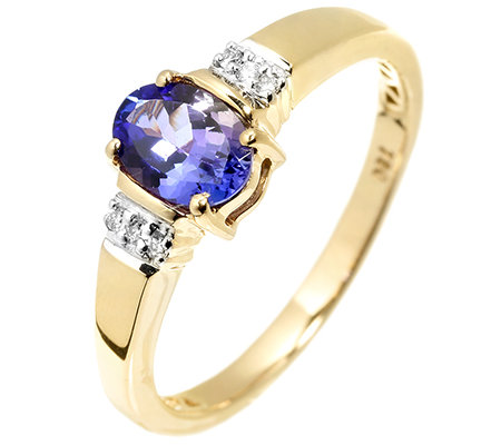 1st Class Tansanit Ring AAA / 0,75ct 6 Brillanten 0,04ct Gold 750