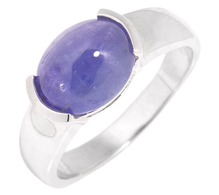 Lavendel Tansanit cabochon 3,00ct. 10x8mm oval Solitär-Ring Silber 925,rhodinie