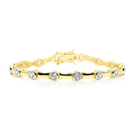 DIAMONIQUE® = 2,56ct Brillantschliff Armband Silber bicolor