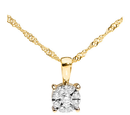 FIRST DIAMOND 9 Brillanten zus.ca.0,20ct. Anhänger mit Kette Gold 375