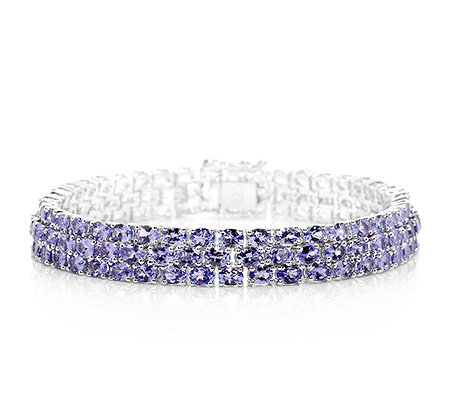 Lavendel Tansanit ca. 20,64ct oval facettiert Armband Silber rhodiniert