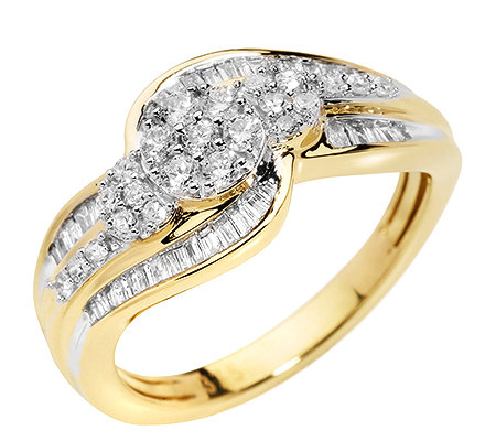 GLAMOUR DIAMONDS 63 Diamanten zus.ca.0,50ct. Weiß/P1 Ring, Gold 375