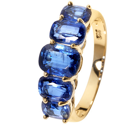 Kyanite Kissenschliff 3,25ct. Rivière-Ring Gold 333