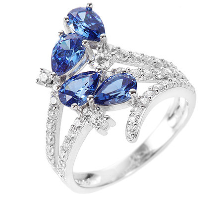 DIAMONIQUE® ROYAL BLUE 46 Steine =2,67ct. Cocktail-Ring Silber 925,rhodiniert