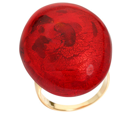 MURANO Silber 925 Ring oval Cabochon, rot handgefertigt