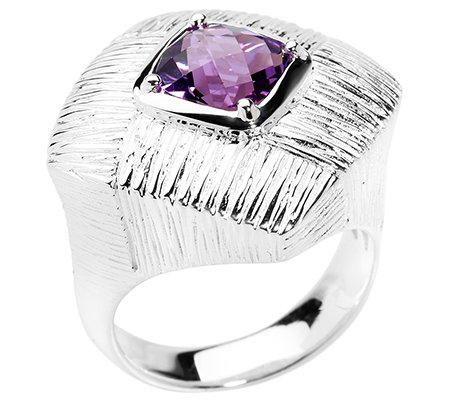 PAOLA VALENTINI Ring Amethyst 1,25ct. strukturiert Silber 925