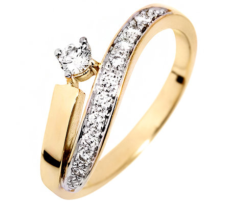 11 Brillanten zus.ca.0,25ct. Weiß/lupenrein Ring Gold 585
