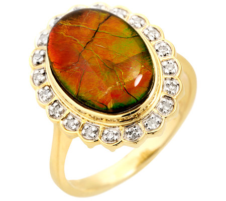 Kanadischer Ammolith Cabochon, oval 20 Diamanten 0,11ct. Entourage-Ring Gold 375