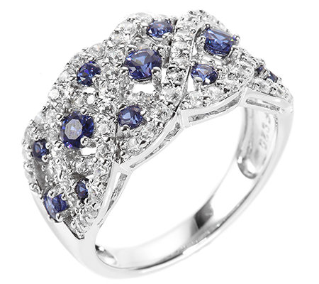 DIAMONIQUE® ROYAL BLUE = 1,32ct Ring Silber rhodiniert