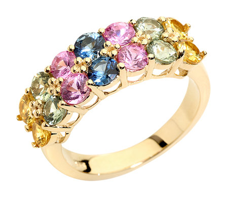 Saphire multicolor 2,60ct. rund facettiert Ring Gold 375