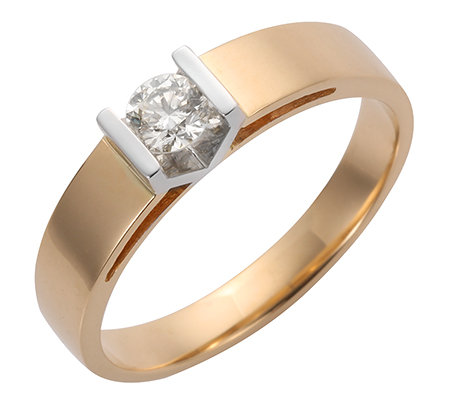 1 Brillant ca.0,25ct g.Weiß/lupenrein Ring Gold 585