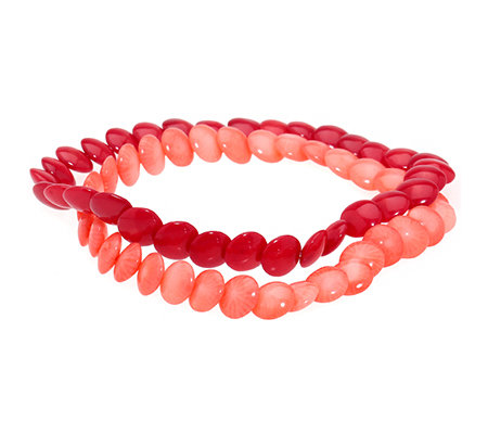 Bambuskoralle Button-Form rot & rosa 2tlg. Armband-Set flexibel