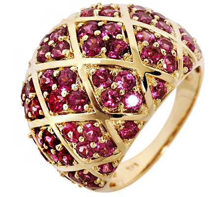 Rhodolith 3,70ct. Krappenfassung Cocktail-Ring Gold 375