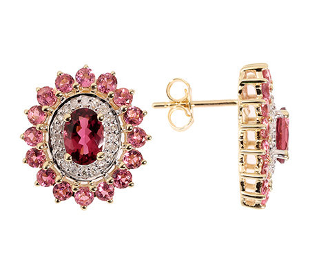 Turmalin 3,48ct. Rosa 40 Diamanten 0,20ct. Ohrstecker Gold 375