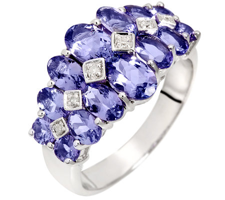 Lavendel Tansanit facettiert 2,77ct. Diamanten 0,03ct. Cocktail-Ring Silber