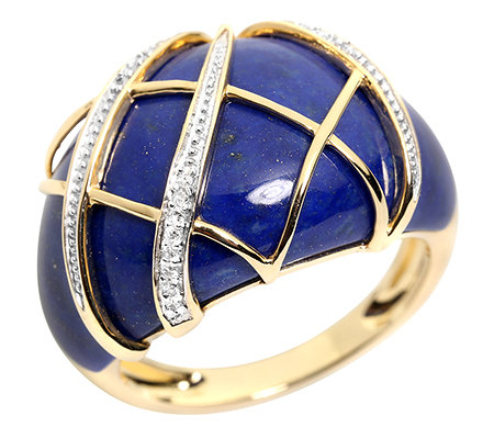 Golden Lapislazuli Spezialschliff 24 Diamanten 0,06ct. Ring Gold 375